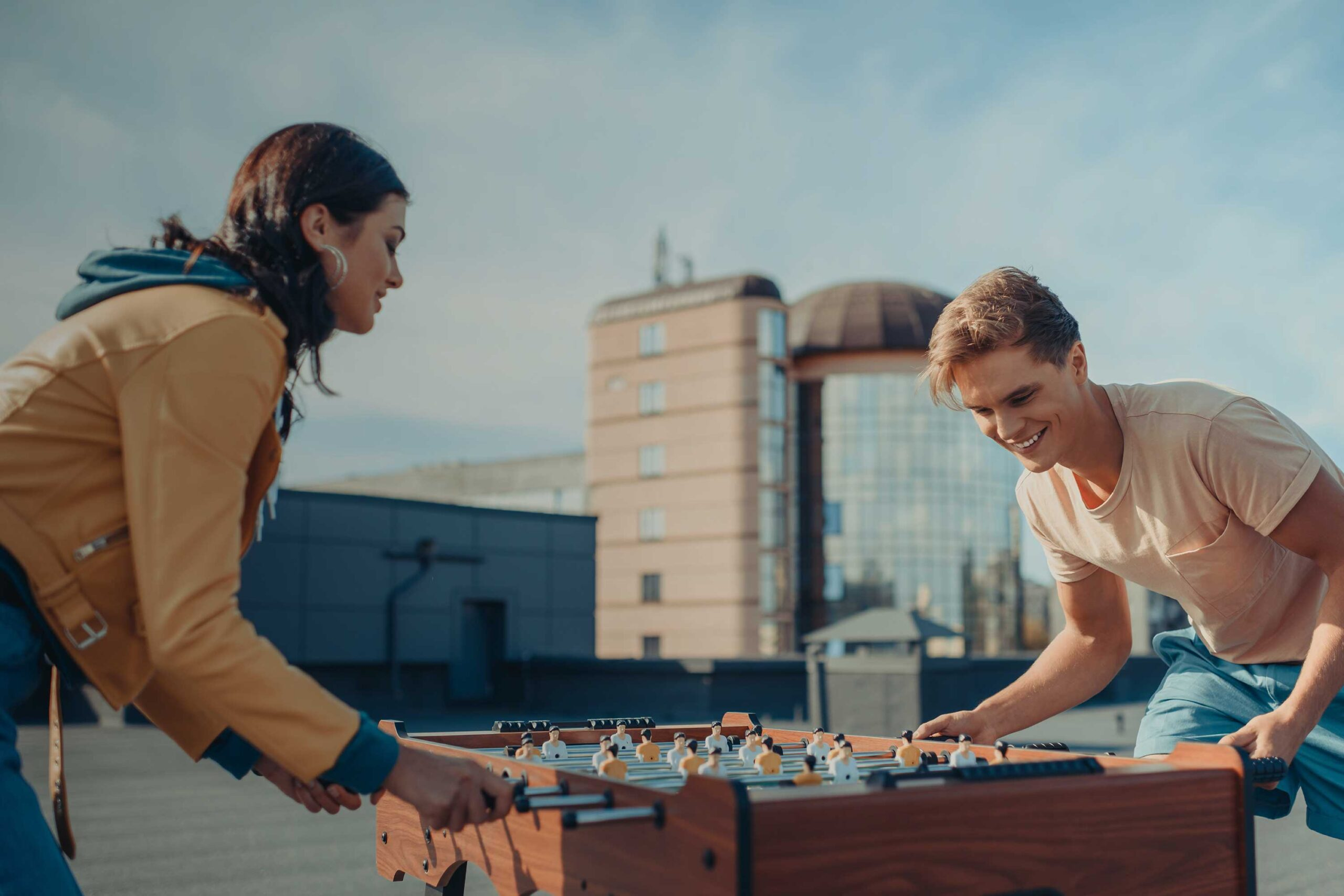 TAKE FIVE Couple Playing Game on Rooftop