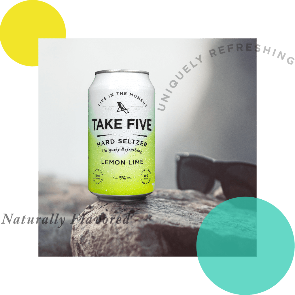 TAKE FIVE Can on Rock Next to Sunglasses with Design Elements
